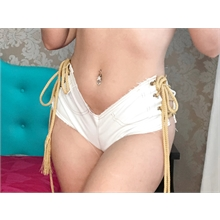 Micro Shorts Jeans Branco 4670